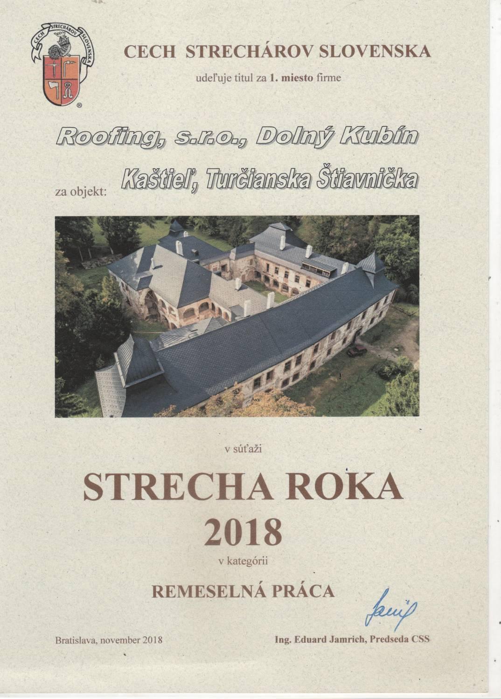 Strecha roka 2018 - Ocenenie - Roofing